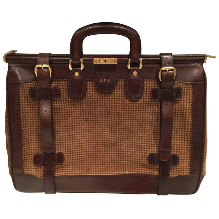 6727d93808 Mint Condition Vintage Houndstooth and Leather Bottega Veneta Weekend Bag  For Sale