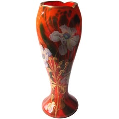 Large Art Nouveau Enamelled Harrach Vase in Vibrant Orange and Aventurine Green