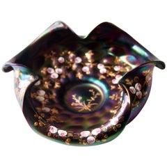 Bohemian Jugendstil Rindskopf Enamelled and Iridised Glass Bowl 1900