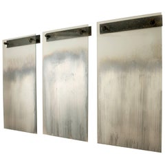 Triptych of Three Contemporary Suspended Fading Wall Mirrors by Gregory Nangle