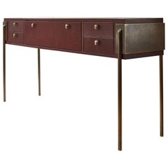 Black Orchid Contemporary Leather Console with Bronze Legs, Christina Z Antonio