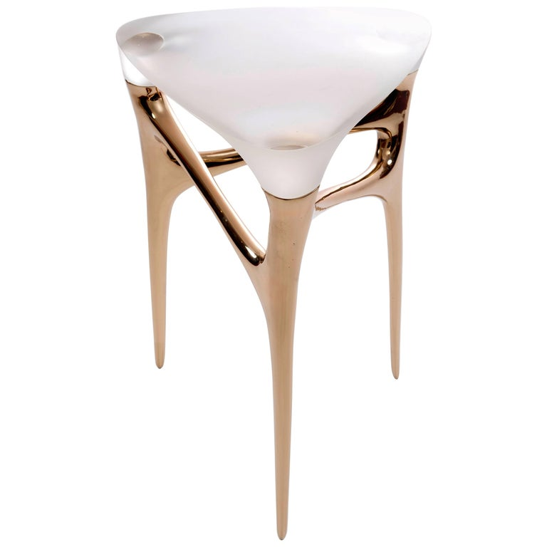 Contemporary Cast Bronze and Cast Glass Side Table by Timothy Schreiber