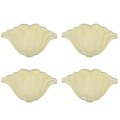 Set of Four Belgian Art Deco Plaster Cast Wall Lights