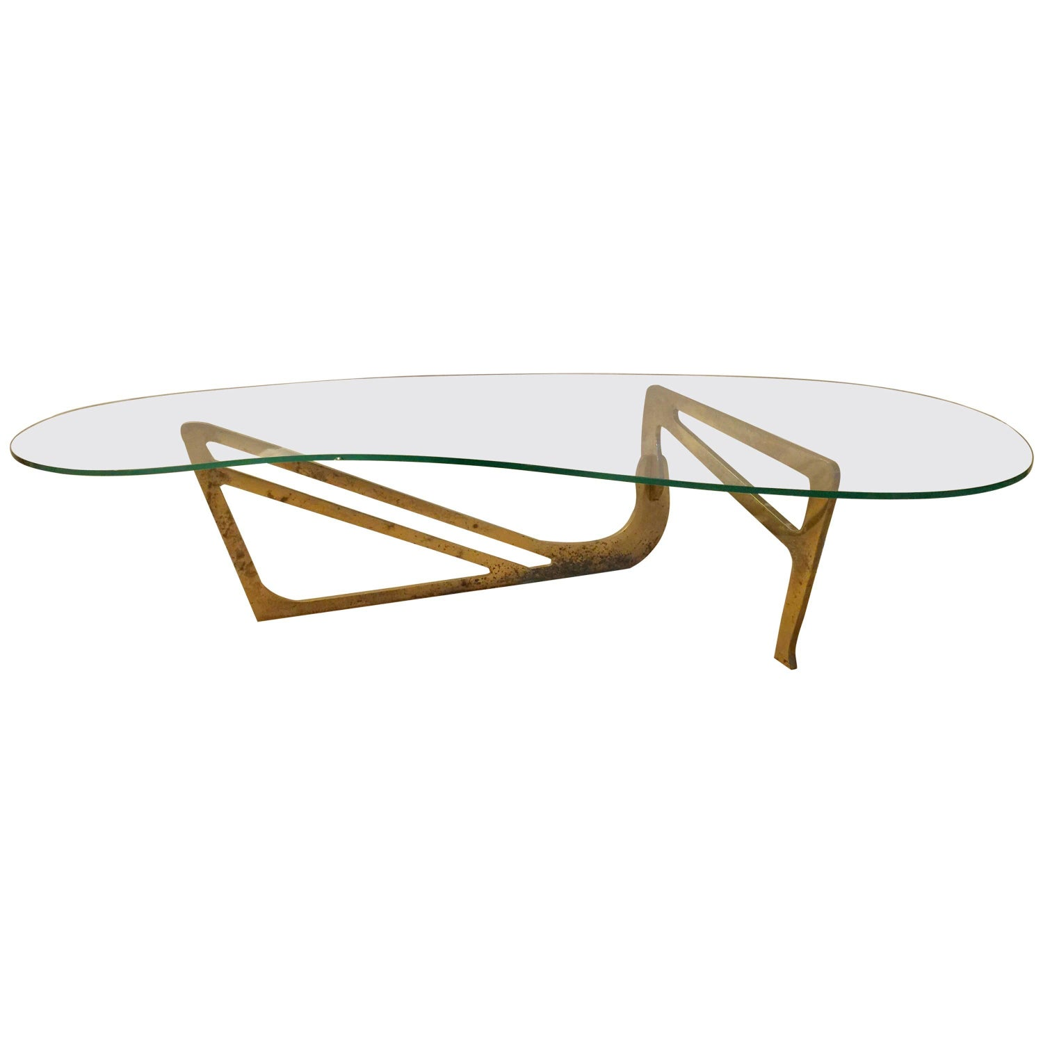 Heavy Brass Noguchi Inspired Boomerang Cocktail Table For Sale at