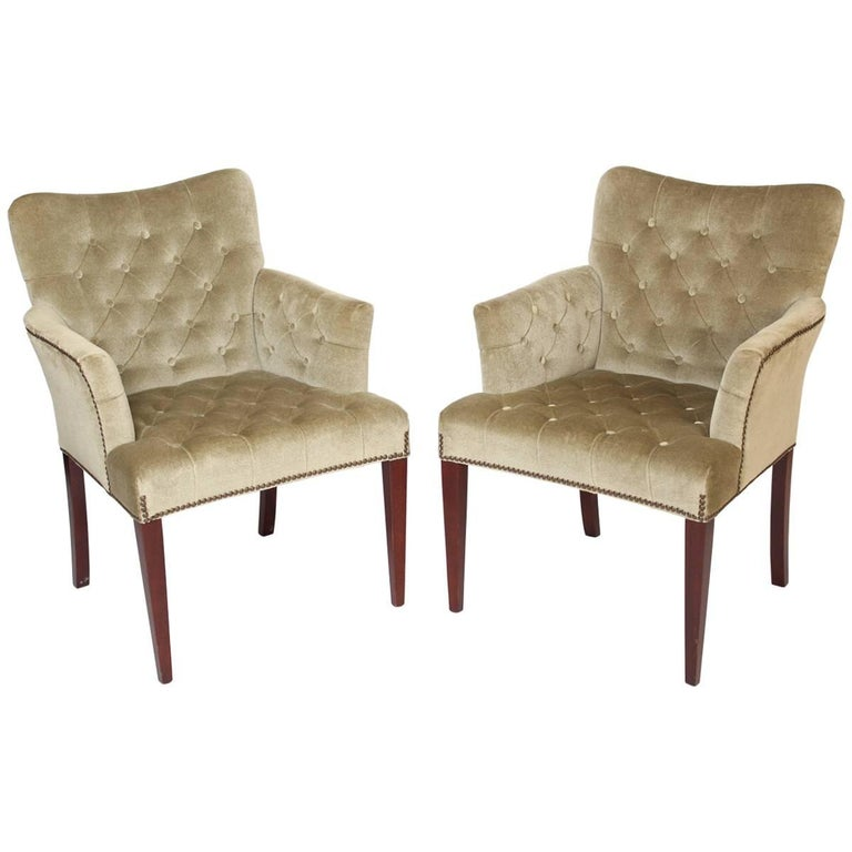 Pair of Mid-Century Modern Style Bergeres by Hickory Furniture