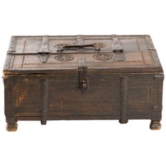 Early 20th Century Indian Carved Wood Trunk