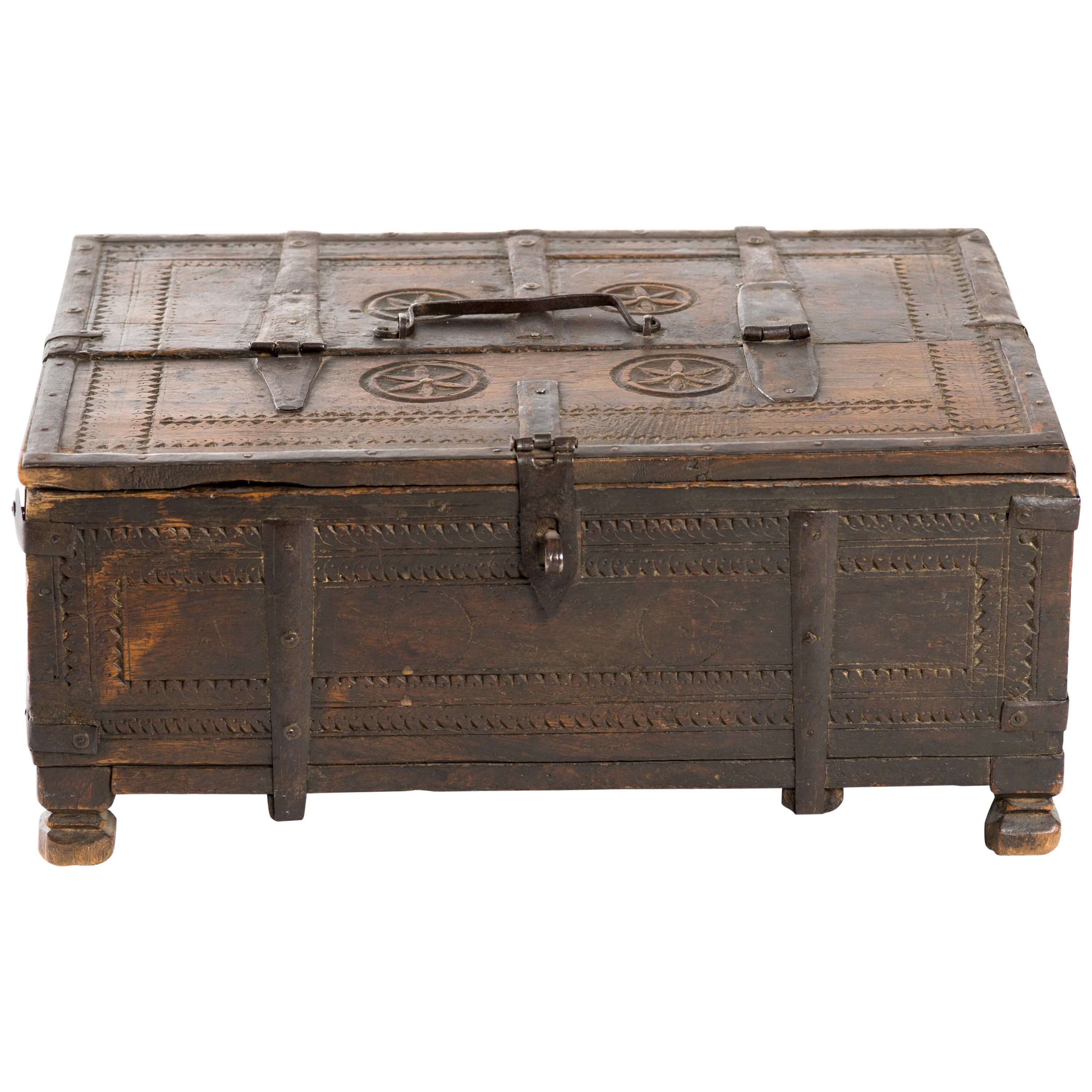 Early 20th Century Indian Carved Wood & Wrought Iron Storage Chest Box