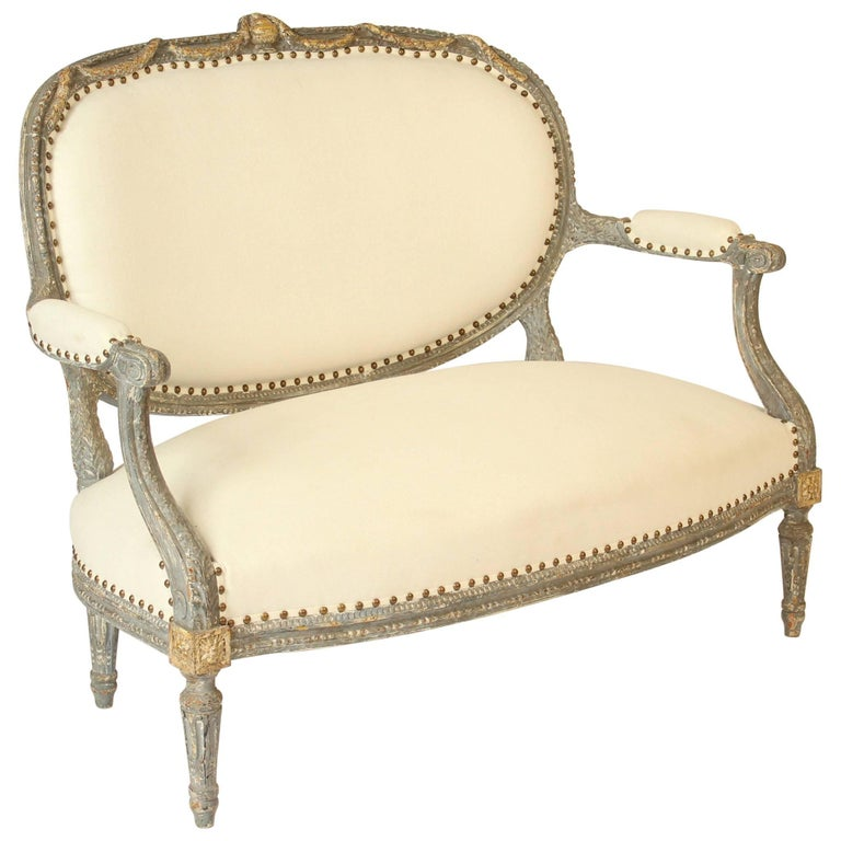 Louis XVI Style Painted and Partial Gilt Settee