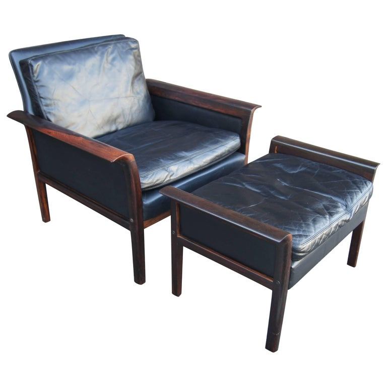 Rosewood and Leather Lounge Chair and Ottoman, Otto Hans Olsen for Vatne Møbler