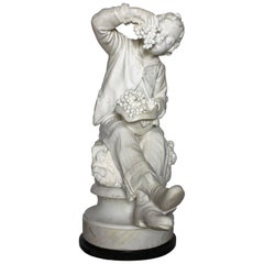 Italian 19th Century Carrara Marble Sculpture of a Boy by Raffaele Belliazzi