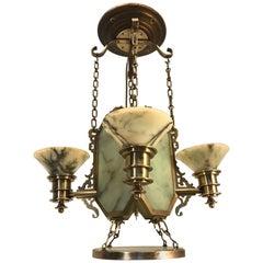 Oriental Style Arts & Crafts Jade Green Alabaster Bronze and Brass Pendant Light