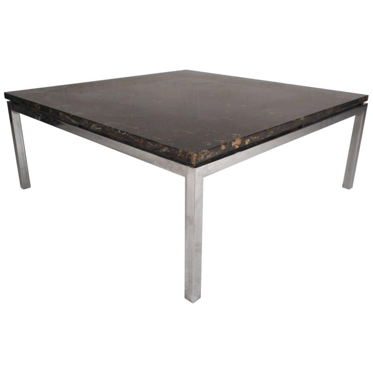 Stunning Mid Century Modern Marble Top Coffee Table For Sale At 1stdibs