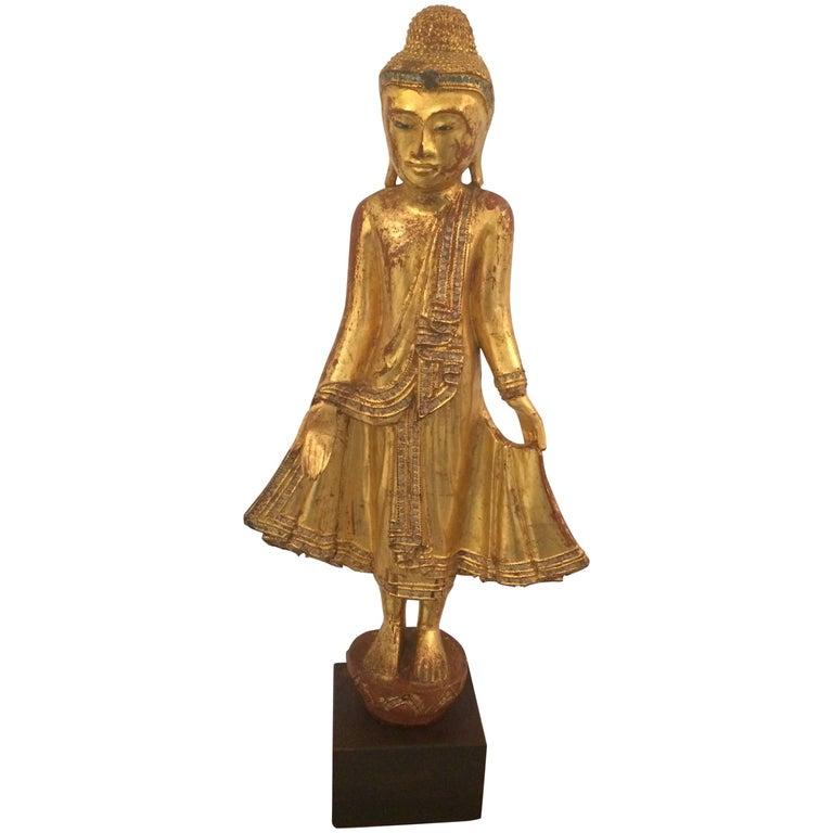 Gem of a Giltwood Thai Buddha Sculpture For Sale