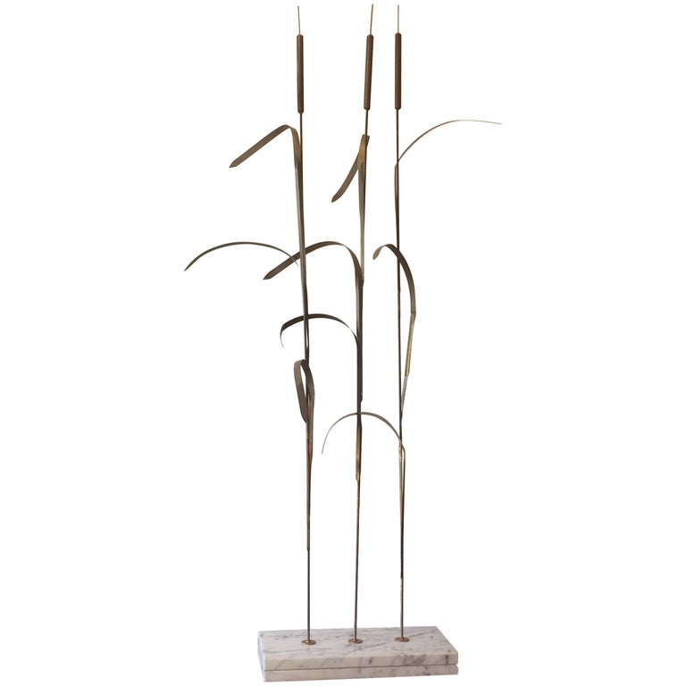 Superlative Very Tall Metal Wheat Motif Sculpture For Sale