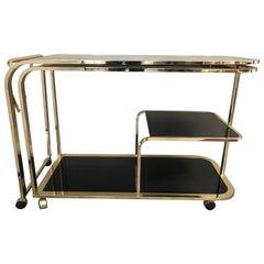 Expandable Milo Baughman for DIA Hollywood Regency Black & Brass Tea or Bar Cart