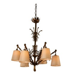 Jonathan Adler Faux Bamboo Bronze Finish Chandelier For Sale at ...