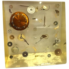 Modernist Lucite Resin Sculpture with Exploded Clock