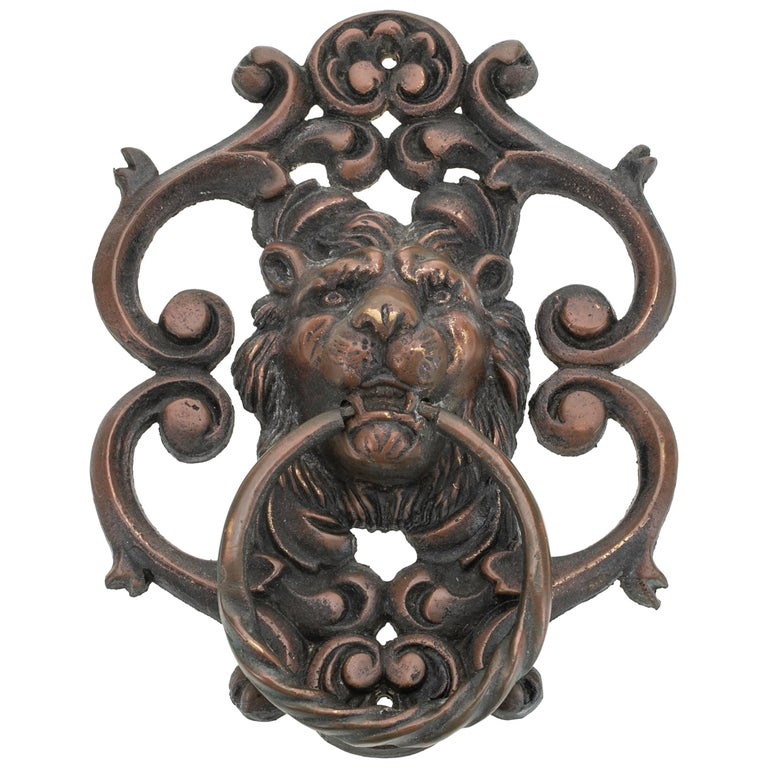 Antique Bronze Lion Face Door Knocker