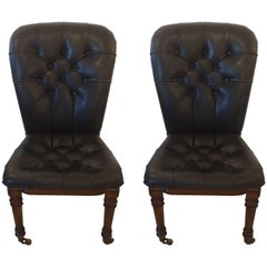 Masculine Pair of Black Tufted Leather and Mahogany Side Chairs