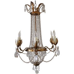 20th Century Italian Macaroni Beaded Tole Chandelier with Six Lights