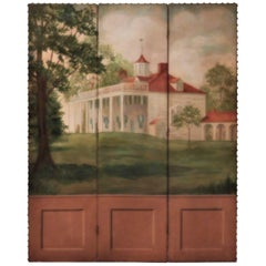 Three-Panel Folding Screen, Painting of Mount Vernon, circa 1935