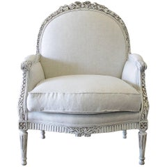 Early 20th Century Carved and Painted Louis XVI Style Bergere Chair