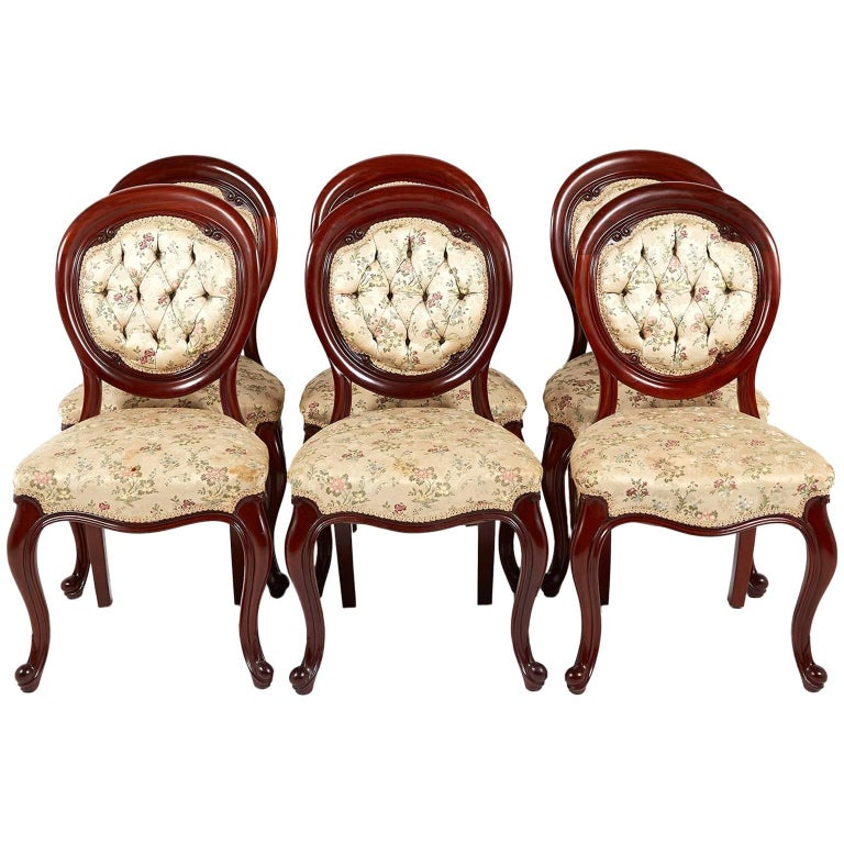 Antique Set of Six Mahogany Carved Victorian Dining Chairs, circa 1870 For  Sale - Antique Set Of Six Mahogany Carved Victorian Dining Chairs, Circa
