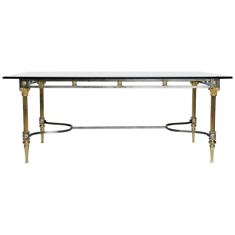 Maison Jansen Attributed Steel and Brass Dining Table For Sale