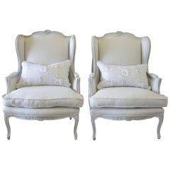 Antique Pair of French Country Style Bergere Wingback Chairs