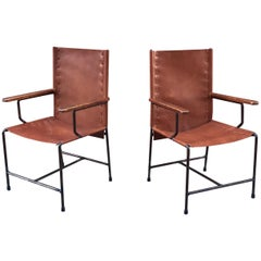 Pair of Mexican Modern Armchairs in Iron and Leather, circa 1950s