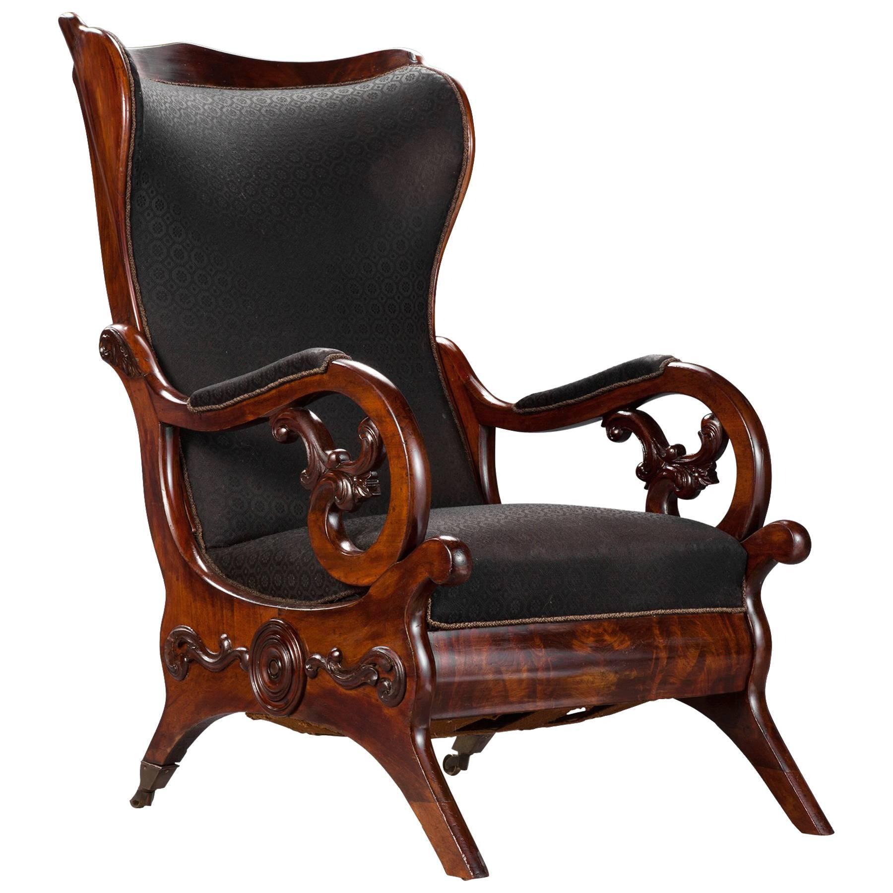 Carved Mahogany Wingback Library Chair, Circa 1840