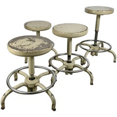 Set of Four Industrial Adjustable Multi Position Metal Stools by Ajusto