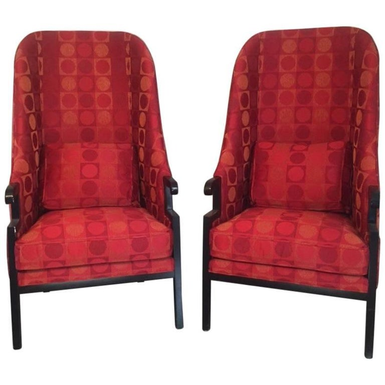 Dramatic and Unusual Pair of Asian Inspired Tall Back Armchairs by Milo Baughman