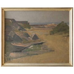 Vintage Landscape Painting by the Sea