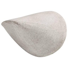 Small White Crackle Finish Modern Ceramic Pod Sculpture