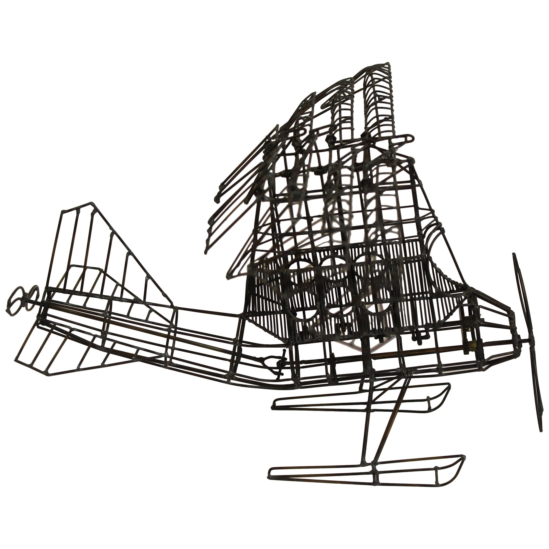 Brutalist Kinetic Seaplane Sculpture
