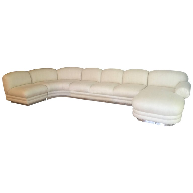 Sectional Sofa Four-Piece with Chaise Chrome Base in Milo Baughman Style