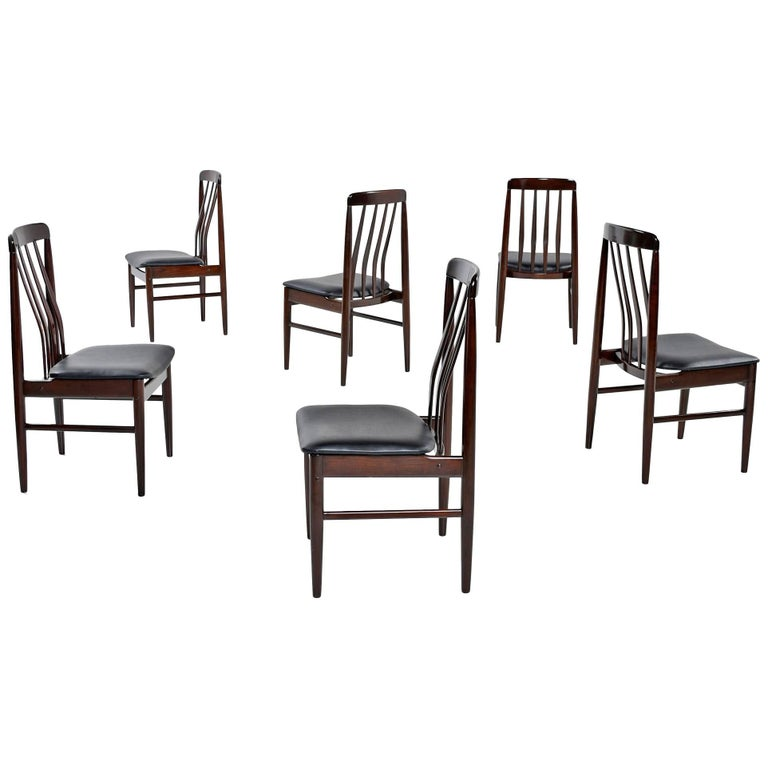 Set of (6) Danish Modern Rosewood Slat Back Dining Chairs, 1960s