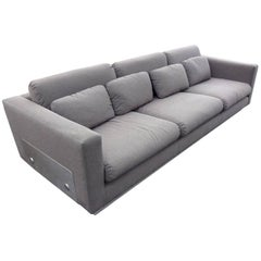 Sofa with a Brushed Steel Base in the Manner of Michel Boyer