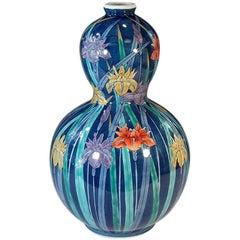 Japanese Blue Hand-Painted Decorative Porcelain Vase by Master Artist