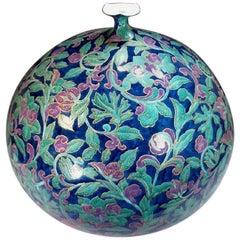 Japanese Large Gilded Hand-Painted Decorative Porcelain Vase by Master Artist