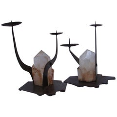 Pair of Sculpture Candleholders in Crystal, circa 2000