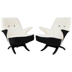Pair of Mid-Century Modern Penguin Lounge Chairs by Theo Ruth for Artifort, 1957