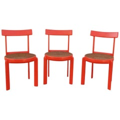 Unusual Set of Three Caning and Orange Lacquer Chairs, France, 1970s