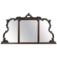 Victorian Carved Overmantel Rosewood Wall Mirror