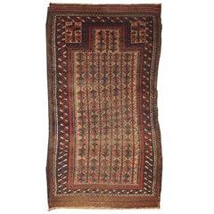 Handmade Antique Distressed Afghan Baluch Prayer Oriental Rug, 1880s