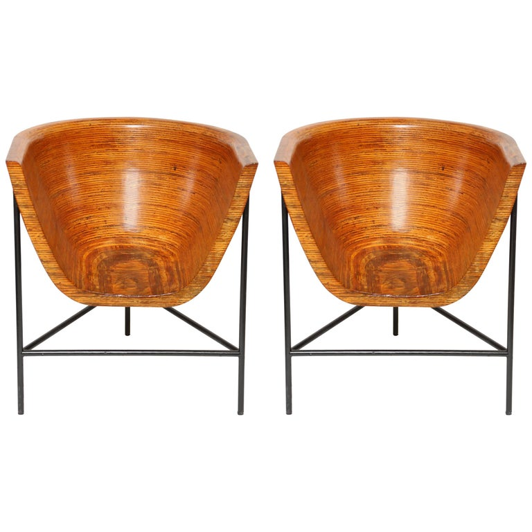 Pair of Till Lesser Stack-Laminated Lounge Chairs