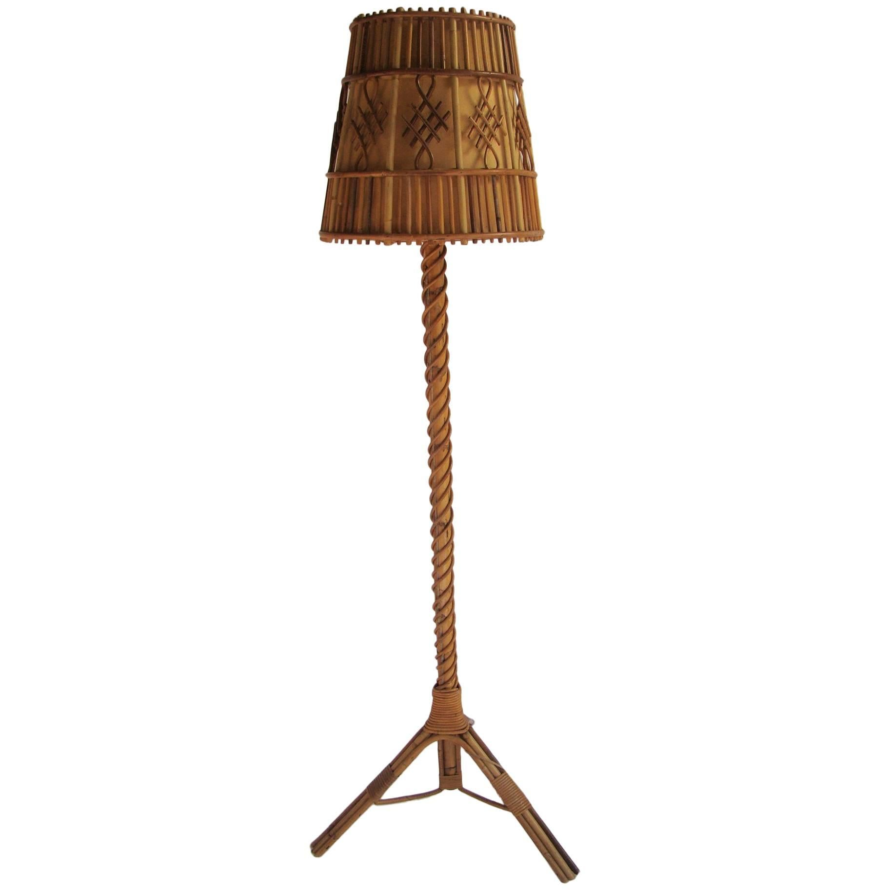 Nice 1960s Rattan Unique Floor Lamp