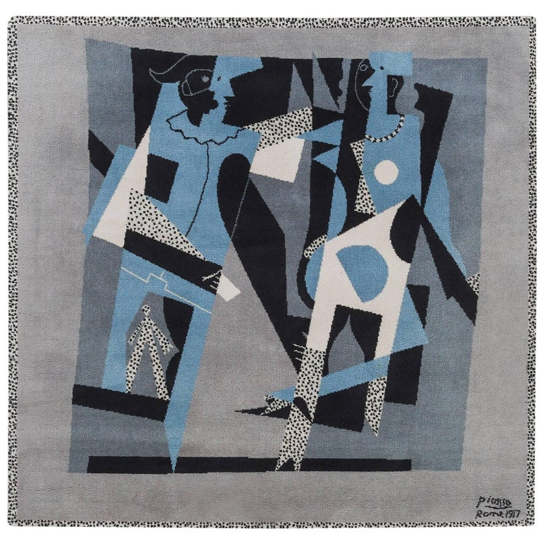 "Pablo Picasso Tapestry Rug (After), Harlequin and ""Woman with Necklace"""