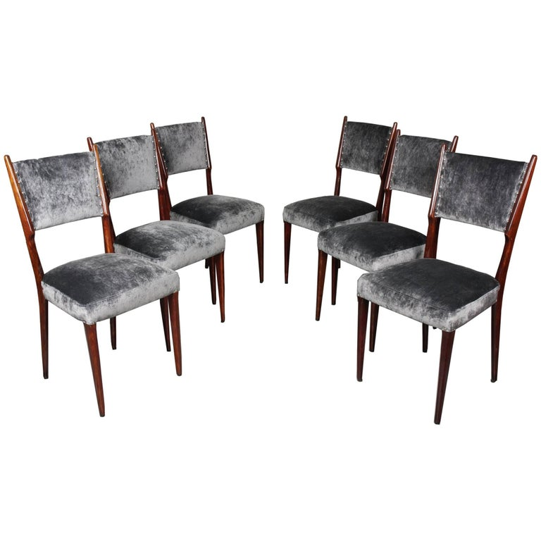 Set of Six Dining Chairs Attributed to Paolo Buffa